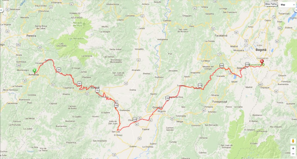 Colombia Route & Planning - Manual PedalManual Pedal